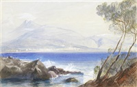 a view of menton from across the bay by edward lear