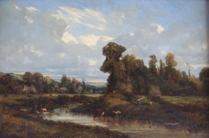 lavandières et vaches près dune rivière by camille flers