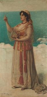 jeune femme aux oisillons en bord de mer by léon herbo