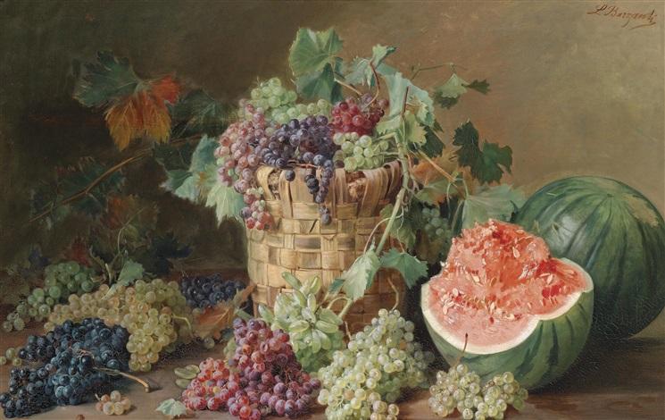 stillleben mit weintrauben und melonen by licinio barzanti