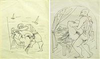 two erotic drawings (2 works) by marcel janco