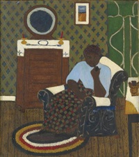 untitled (woman in armchair, smoking pipe) (from a force for change: african american art and the rosenwald fund) by haywood rivers