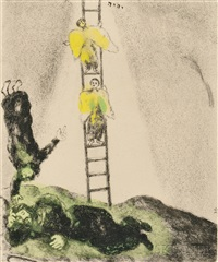 jacob's ladder, plate 14 from bible by marc chagall