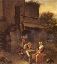 two men and a woman drinking and smoking at a table outside a house by johannes natus