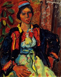 woman with kerchief by milan konjovic