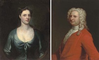 portrait of mr. herbert, half-length, in a red coat (+ portrait of a mrs. herbert, half-length, in a blue dress; pair) by william aikman