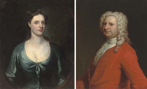 portrait of mr herbert half length in a red coat portrait of a mrs herbert half length in a blue dress pair by william aikman