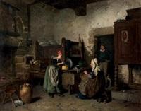 le partage du beurre, intérieur breton by hermanus-franciscus van den anker