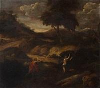 paysage avec apollon et daphné by cornelis huysmans