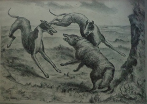 hounds and coyote by john steuart curry