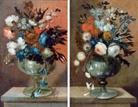 zwei blumensträuße in gläsernen vasen (pair) by franz weber
