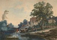 chevaux à la rivière et les lavandières (pair) by louis gadbois