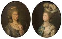 portrait de marie-aimée-louise de birague, épouse jean-charles de birague - portrait de marie de birague, épouse d'andré-henri de birague (pair) by fanisch