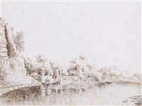 a group of seven drawings of india by ezekiel barton