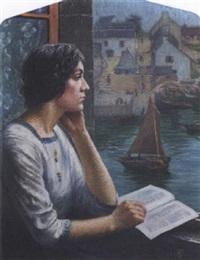 femme à la fenêtre by french school-pont aven