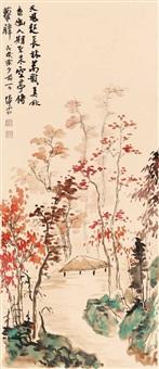 pavillon unter herbstlich verfärbten bäumen by jiang e-shi