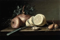 a partly-pealed lemon, a clove of garlic, onions, and a knife on a table by pierre labatie