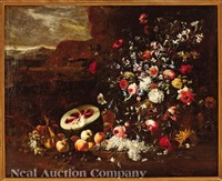 still life of flowers and fruits in a landscape by giuseppe recco