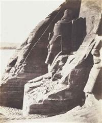 nubie, abousembil, speos de phré colosse meridional vu de profil by félix teynard