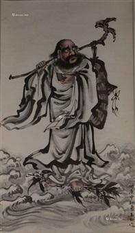 达摩 立轴 纸本 by lin yushan