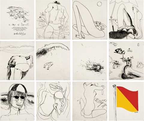 a day at bondi set of 10 by brett whiteley