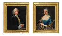 portrait de monsieur grandhomme, médecin par quartier du roi louis xvi et de madame grandhomme (pair) by french school (18)