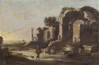 paysage de campagne avec des ruines antiques près d'un puits by jan (hermafrodito) linsen