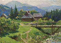 mountain landscape with huts and bridge by emil lindemann