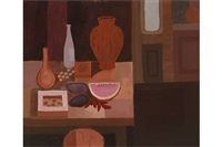 still life with pots by arthur armstrong
