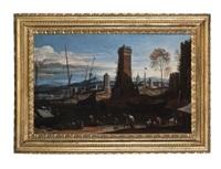 port méditerranéen avec bateaux et personnages près d'une ville fortifiée by adriaen van der cabel