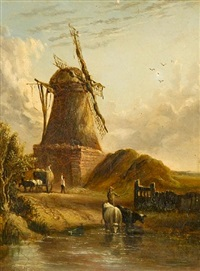 landscape with haycart, cattle and figures before a windmill by anthony sandys