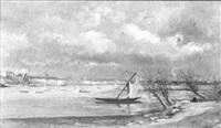 barques de pêche aux carrelets sur la loire by françois edouard bournichon