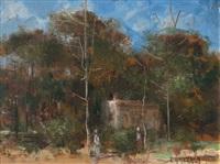 paisaje con casona by eduardo amezaga