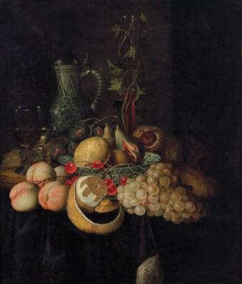stillleben mit südfrüchten in einer schale aus ming porzellan und einem steinzeugkrug by jan pauwel gillemans the elder