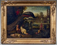 poules, paon, perroquet et cochons d'inde by pieter casteels iii