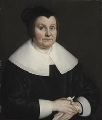 portrait of a lady in a black dress by adam camerarius
