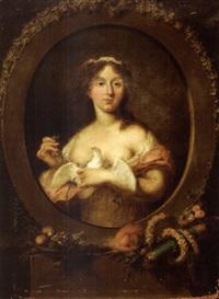 portrait de femme à la colombe by emanuel traugott goebel