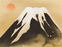 mount fuji with the sun by ryushi kawabata