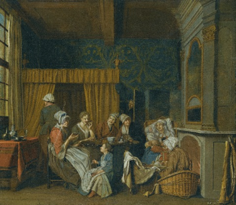 a family taking tea while celebrating the birth of twins by jan josef horemans the younger