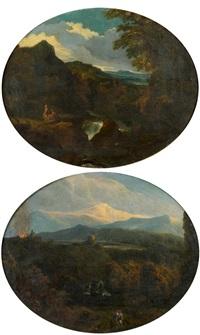 paysage de montagne et de cascade animé de promeneurs (+ repos d'un couple de bergers devant une cascade; pair) by cornelis huysmans