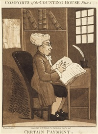 comforts of the counting house (set of 4; after george moutard woodward) by johann ziegler