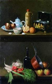 nature morte aux légumes (+ nature morte à la boîte à thé, à la bouteille de loos et porcelaine de paris; pair) by adolphe phalipon