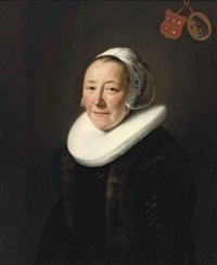 portrait of an elegant lady (erminia van beresteyn?), in a black dress with fur jacket, a molensteen kraag and white headdress by abraham de vries