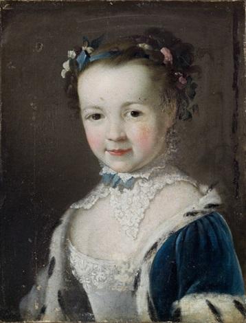 ritratto di bambina a mezzo busto con abito azzurro bordato dermellino e fiori tra i capelli by françois hubert drouais