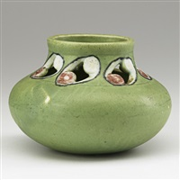 pierced z line vessel in green by j. d. wareham