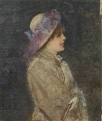 jeune femme au chapeau fleuri by henri gervex