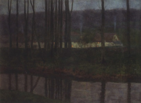 riverside cottages at twilight by charles herbert eastlake