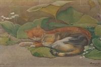asleep in a sunny corner by charles caleb ward