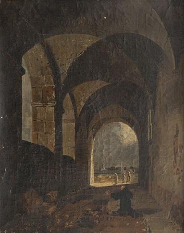 moine priant dans le cloître by françois marius granet