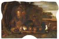 geflügelhof mit kaninchen und papagei vor abendlicher landschaft by gysbert gillisz de hondecoeter